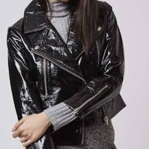 BLANK NYC Faux Patent Leather Moto Jacket